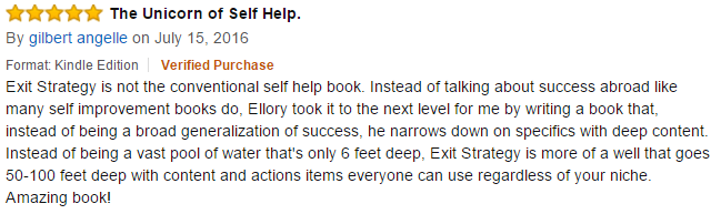 Exit Strategy Testimonial July 15 kindle