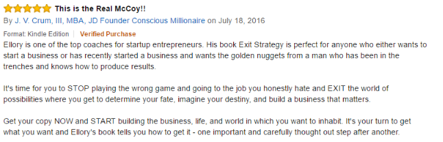 Exit Strategy Testimonial July 19 kindle